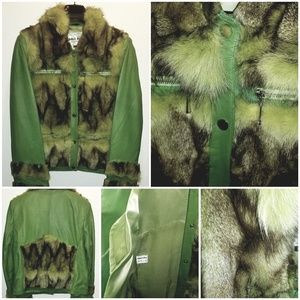 Jackets & Blazers - Lime Green Genuine leather and Fox Jacket